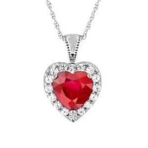 14K White Gold Heart Cut Red Ruby And Diamond Neck